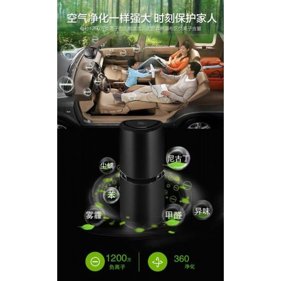 1200萬負離子~空氣清淨機【10立方米-除煙味異味】USB車用家用空氣淨化器.霧霾PM2.5光觸媒空氣清淨機 (黑色)