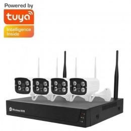 Tuya涂鴉 4路無線NVR監視器攝影機錄影套組 800米WIFI穿門穿牆 串接技術